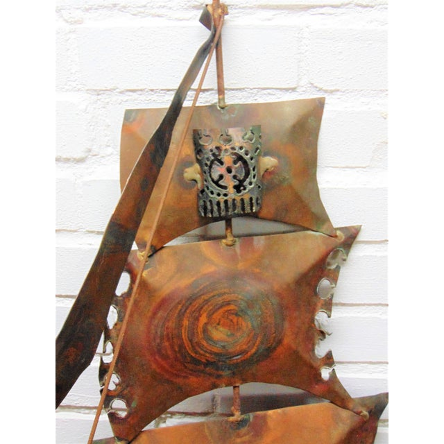 Vintage Copper Ship Wall Sculpture - Image 5 of 5