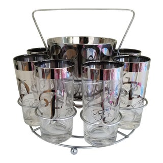 """Mid-Century Initial """"P"""" Glasses, Ice Bucket & Caddy - Set of 10"""