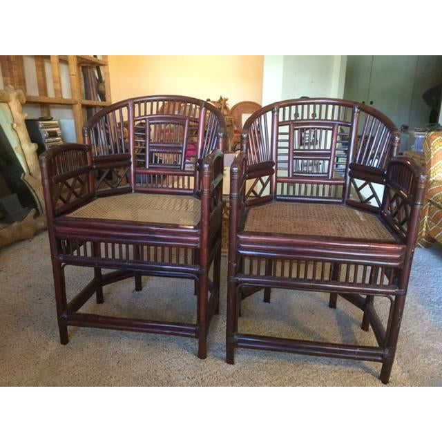 Elegant Bamboo & Rattan Chairs - a Pair - Image 2 of 4