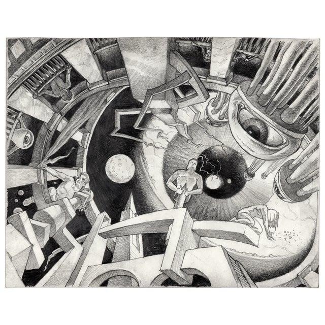 Alex Tavoularis Surrealist Original Pencil Drawing - Image 2 of 2