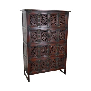 Antique Carved Chinese Multi Door Cabinet