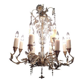 20th C German Crystal Maison Bagues Style Stamped Chandelier