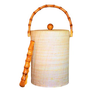 Raffia & Bamboo Vintage Ice Bucket