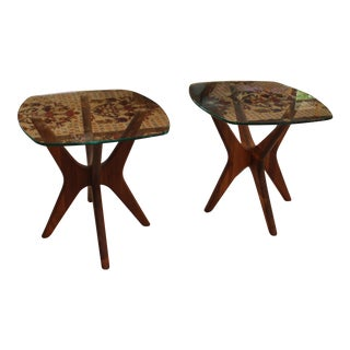 Adrian Pearsall Mid Century Modern Walnut Jack Side Tables – Set of 2