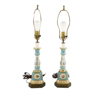 19th C Sevres Celest Blue Porcelain Candlestick Lamps - A Pair