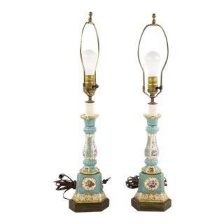 19th C Sevres Celest Blue Porcelain Candlestick Lamps - A Pair