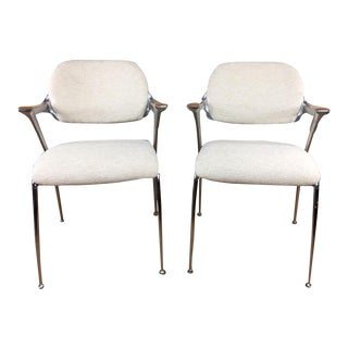 Francesco Zaccone Aluminum & Chrome Chairs - A Pair