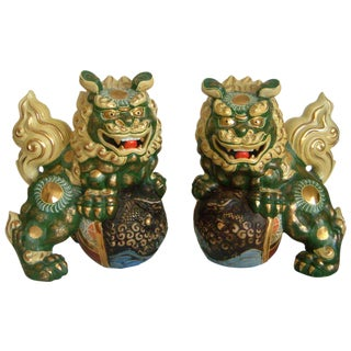 Signed Japanese Ceramic Foo Dogs - a Pair