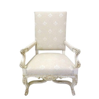 19th Century French Carved Painted Armchairs With Fleur De Lys Fabric - A Pair
