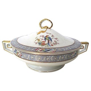 Blue Pheasant Gilded Greek Key Serving Bowl