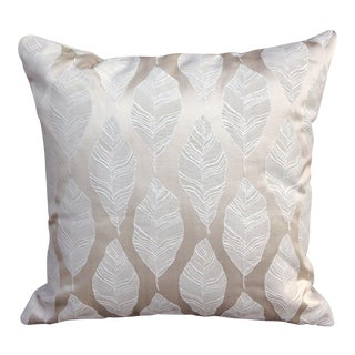 Cream and Gold Embroidered Leaf Print Pillow