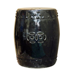 Asian Black Porcelain Double Coin Round Stool