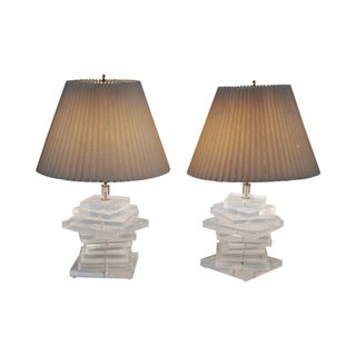 Mid-Century Stacked Lucite Lamps - Pair