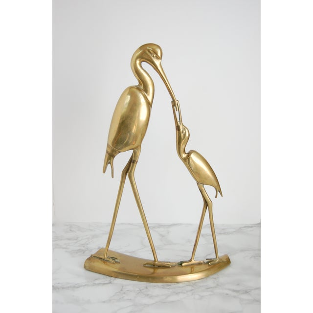 Large Vintage Brass Crane Statue - Image 2 of 9