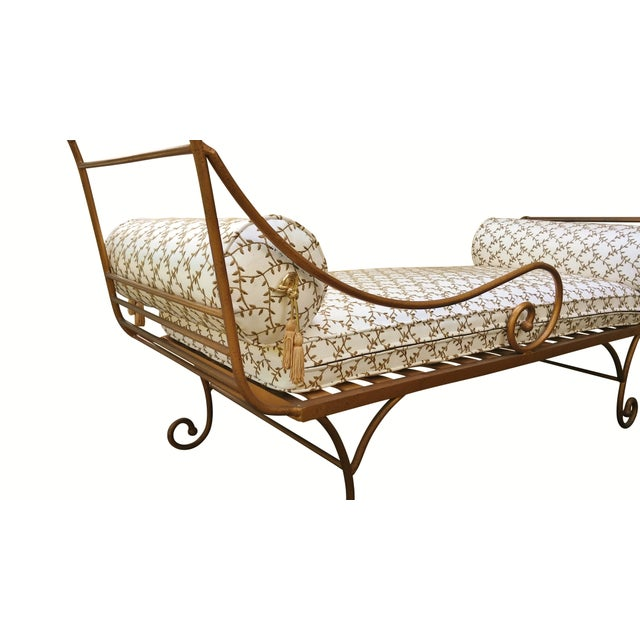 Gold metal chaise lounge chairish for Black and gold chaise lounge