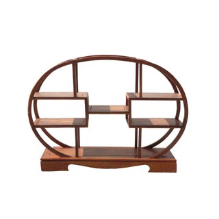 Chinese Rosewood Small Oval Table Top Curio Shelf