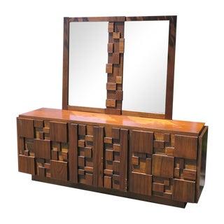 Lane Mosaic Brutalist Dresser & Mirror