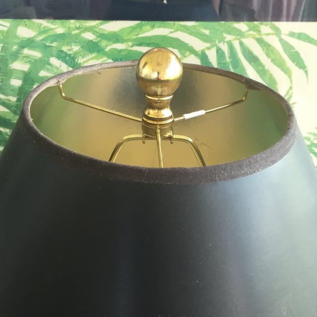 Image of Mid Century Modern Cobalt Blue Drip Glaze Ceramic Table Lamp With Black Shade