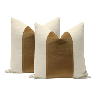 Sable Brown Velvet Panel and Linen Pillows - A Pair