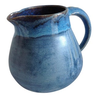 Vintage Artisan Blue Pottery Pitcher