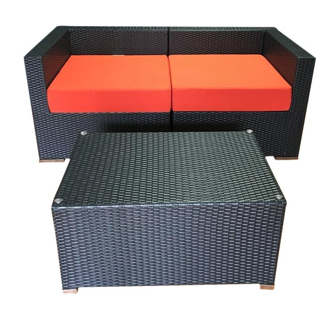 Outdoor Wicker Loveseat & Coffee Table - Image 1 of 6