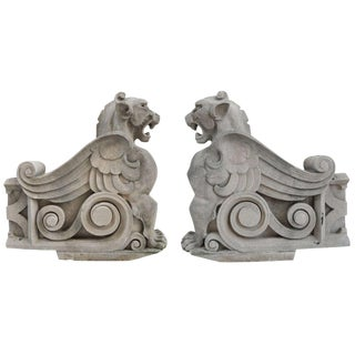 Pair of Limestone Griffins