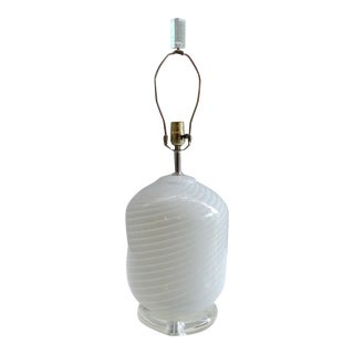 Vetri Murano Swirled Glass Table Lamp on Lucite Base