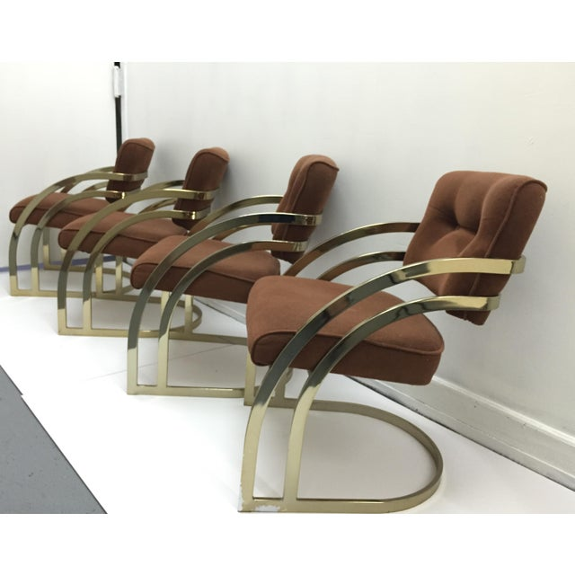 Image of Milo Baughman Brass Cantilever Chairs - Set of 4