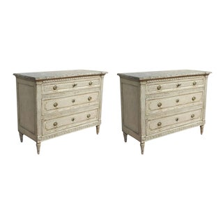 19th Century Louis XVI Carved & Painted Commodes - A Pair
