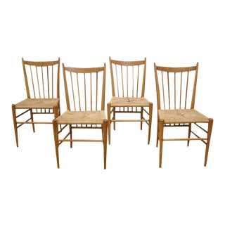 Vintage Italian Oak Highback Spindle Chairs - Set of 4
