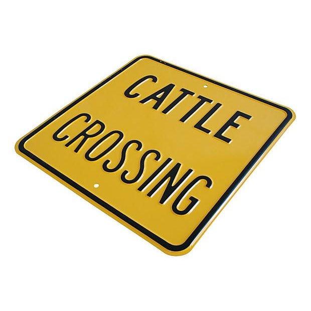 Vintage Heavy Embossed Metal Cattle Crossing Sign - Image 2 of 2