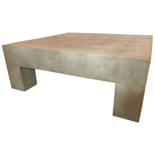 Palatial Karl Springer Style Linen Wrapped Coffee Table