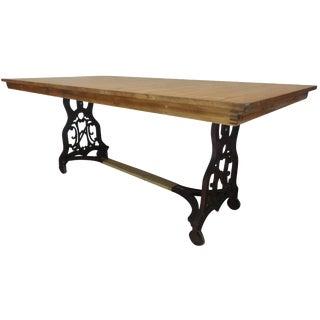 Antique Swedish Iron Base Dining Table
