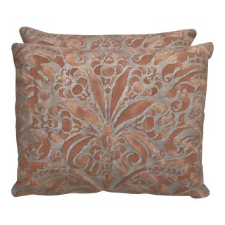 Fortuny Brown & Gold Cotton Pillows- A Pair