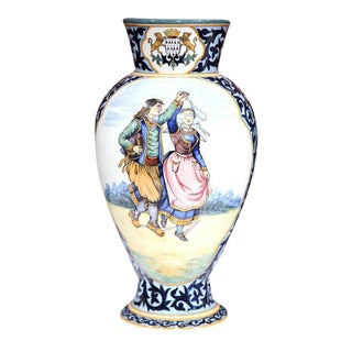 Pair of 19th Century French Hand-Painted Large Vases Signed Henriot Quimper