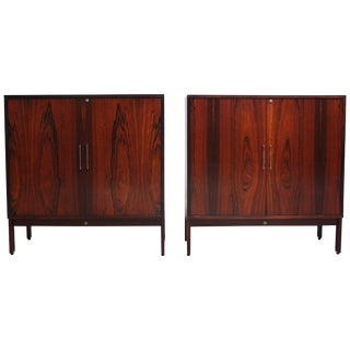 Pair of 'SB' Danish Bookmatched Rosewood and Mahogany Cabinets