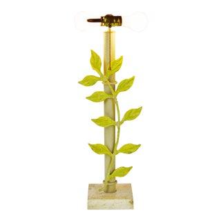 Vintage Mid Century Metal Vine Design & Stone Base Table Lamp