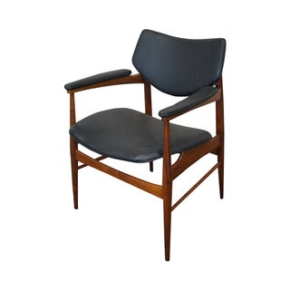 Vintage Danish Modern Teak & Black Vinyl Arm Chair