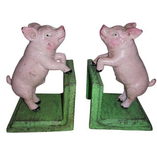 Cast Iron Pink Pig Bookends - A Pair
