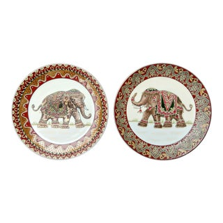 Gold Accented Elephant Plates - a Pair