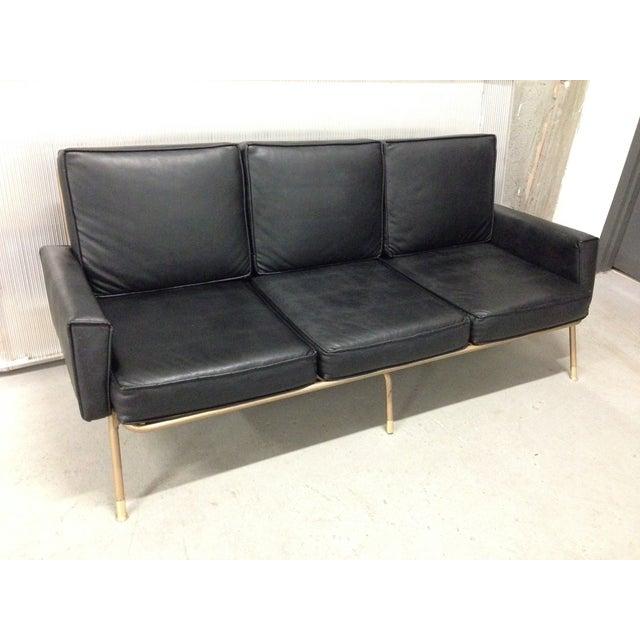 Image of Mid-Century Modern Vinyl & Metal Sofa