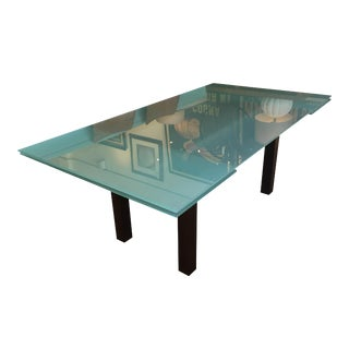 Italian Frosted Glass Metal & Wood Expandable Dining Table