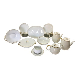 Pure White Porcelain With Gold Trim Serving Ware 28Pcs