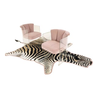VINTAGE C. 1965 VLADIMIR KAGAN ARMCHAIRS MODEL 6700 REUPHOLSTERED IN BLUSH PINK VELVET WITH ZEBRA HIDE RUG
