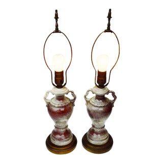 Antique Brass & Ceramic Lamps - A Pair