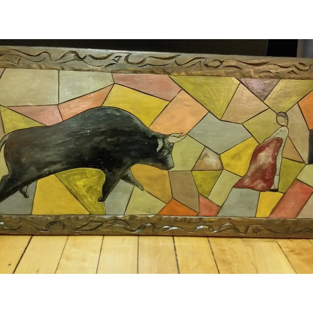 Image of Vintage Carved Wooden Bullfighting Scene
