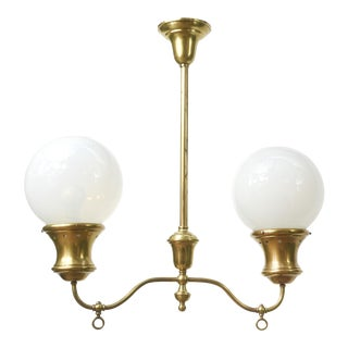 Two Light Gas Fixture With Round Opaline Glass