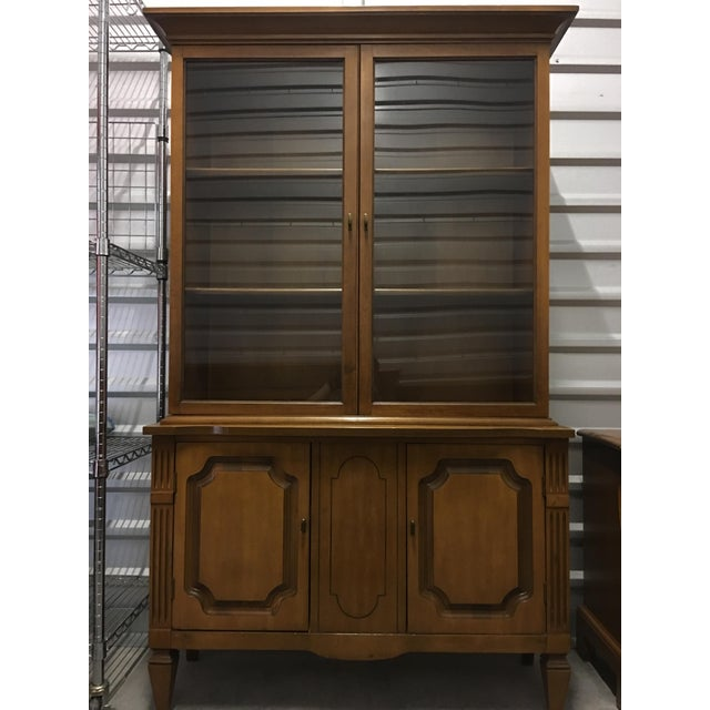 Vintage Fruitwood Hutch China Cabinet - Image 6 of 7