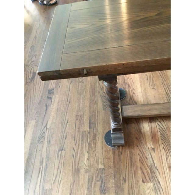Ethan Allen Jacobean Barley Twist Expanding Banquet Dining Room Trestle Table - Image 8 of 9