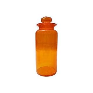 Orange Midcentury Glass Apothecary Lidded Jar